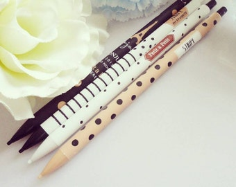 Paris Mechanical Pencils Polka Dot Stripes Eiffel Tower White Black Sand Pencil