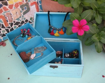 Soft Blue Shabby Chic Wooden Jewelry Box