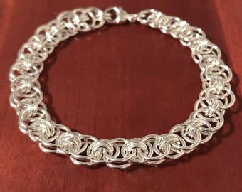 Sterling Chainmaille Bracelet-Silver Helm Weave-Sterling Chain Bracelet-Chain Mail Bracelet