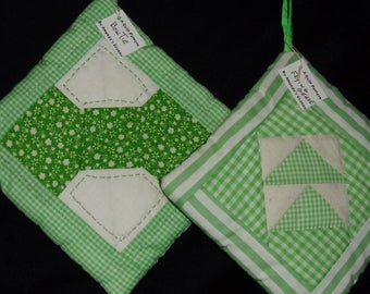 POTHOLDERS (5) Patchwork Quilt Pattern, Green,Spring, Bow Tie, Flying Geese, St Paddy Easter, Country, Cabin, Ranch, Traditional, USA, Loft