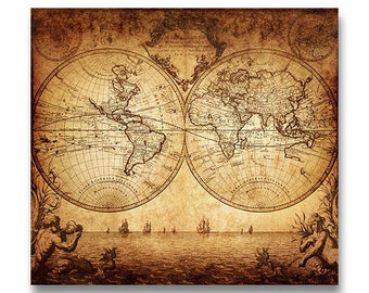 INSTANT DOWNLOAD Ancient World Map Print Poster Printable Landscape Art Wall Decor Vintage Old Parchment