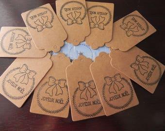 10 kraft Merry Christmas 7 x 4 cm kraft labels