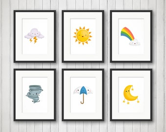 Nursery Room Decor - Happy Weather - Nursery Print - Kids Bedroom Art - Kids Room Decor - Nursery Art Print - Rainbow, Sun and Cloud