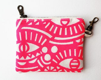 Zippered Coin Pouch: Organic Screenprinted Fabric in Neon Pink
