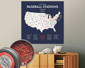 Man Cave Baseball Stadium Map Ballpark Travel Quest with push pins personalized MLB map on Canvas | Braves Cubs Dodgers Rangers Blue Jays