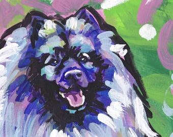 Keeshond art print of pop dog art painting bright colors 8x8