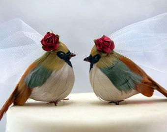 Country Cardinal Wedding Cake Topper: Bride & Bride Lesbian Love Bird Cake Topper - Anniversary