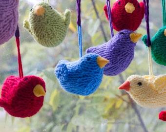 Hand Knit Bird  Decor, One  Bird Ornament, Easter Ornament, Holiday Decor,  Bird Toy, Stuffed Animal