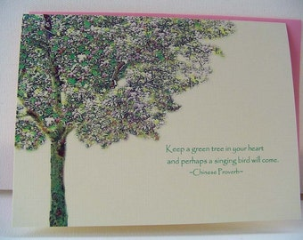 GREEN TREE set of 6 note cards, stationary, paper goods, illustration, blank, quote, summer, spring, bird
