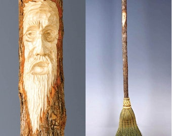 Tree Spirit Carved Kitchen Broom in your choice of Natural, Black, Rust or Mixed Broom corn - Shaker Broom For Sweeping