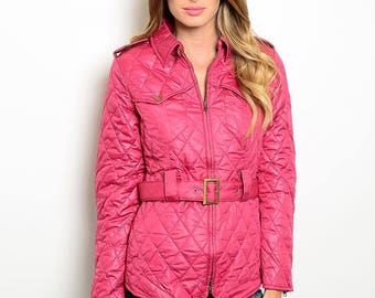 Quilted pink barn jacket