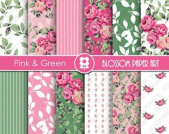 Rose Digital Paper, Floral Digital Paper Pack, Pink Garden, Scrapbooking, Roses, Pink Roses - INSTANT DOWNLOAD  - 1950