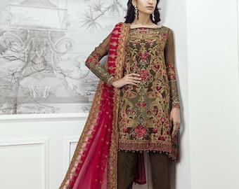 Baroque Chantelle Chiffon 2018 Original Ornament (Paisley Dust), Made to order, Partywear, formalwear, Pakistani Indian Bengali