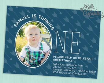Photo Boy First Birthday Party Invitation - Digital File Printable
