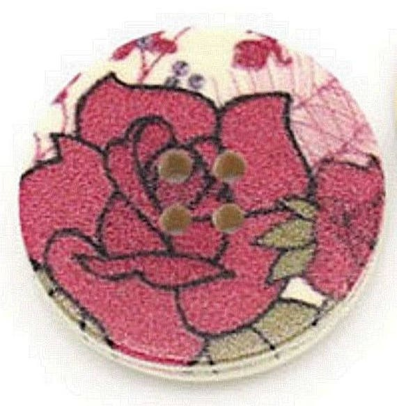 BBR30225 - 2 BUTTONS ROUND 30 MM WOODEN PATTERN WITH COLORS