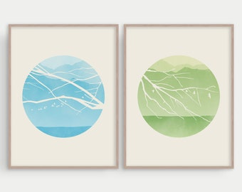 Scandinavian Print Set of 2, Bedroom Wall Art, Mid Century Modern Art, Wall Decor Living Room, Large Wall Art Set of 2, Nature Prints Tree