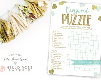 Baby Shower Crossword Puzzle Game . Mint and Gold . Printable Instant Digital Download . Baby Shower Games . Girl Boy Twins Gender Neutral