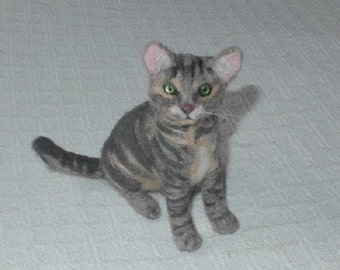 Needle Felted Cat / Custom Pet Portrait by Gourmet Felted /  Gray Tabby Cat