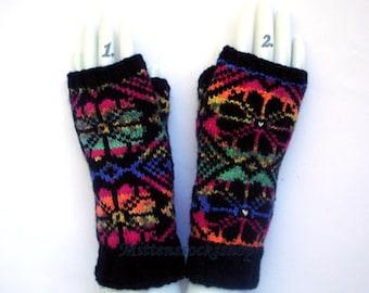 Rainbow Fingerless Gloves Hand Knit Rainbow Arm Warmers Texting Gloves Hand Knit Rainbow Mittens Driving Gloves Hand Warmers Wrist Warmers