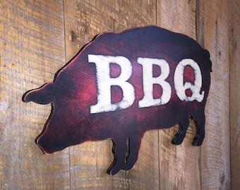 Wooden BBQ Pig Sign - Wall Art