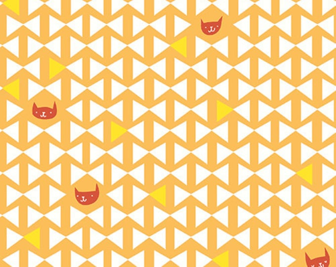 Catnap - Cat Finn in Ochre by Lizzy House for Andover Fabrics - Quilting Cotton Fabric