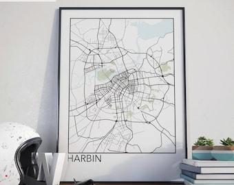 Harbin, China Minimalist City Map Print