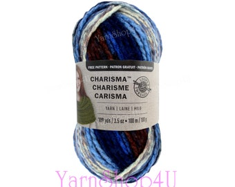LAKESIDE Bulky Charisma Loops and Threads Yarn. This Blue, Brown Grey Ombre Yarn is 3.5oz 109yds. Variegated Chunky Thick Soft Acrylic Yarn.
