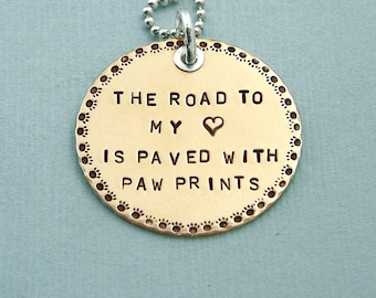 Hand Stamped Brass and Sterling Silver Necklace with Paw Print Border