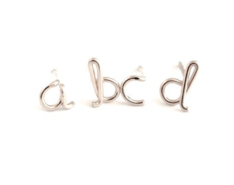 Sterling Silver Initial Studs. Lowercase letter stud alphabet post earrings. Small Initial Stud Earrings. Girl Gift Under 50