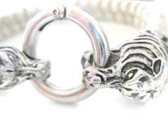 Tiger head Clasp Suede woven Bangle bracelet Grey Beige Fantasy Jewellery Silver clasp