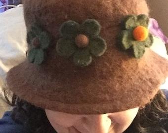 Handmade Flapper Hat Revival Hat Vintage Wool Cloche w Felt Flowers for Medium Head