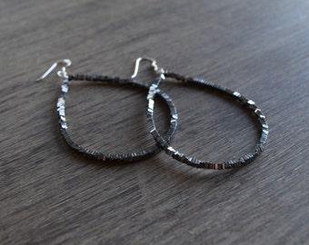 Large Silver Teardrop Earrings, Hematite Earrings, Metallic Earrings, Silver Statement Earrings, Holiday Earrings, Dangle Earrings, Bold
