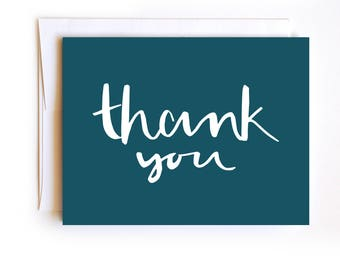 Blue Thank You Card - Hand drawn hand lettered - Confetti Card