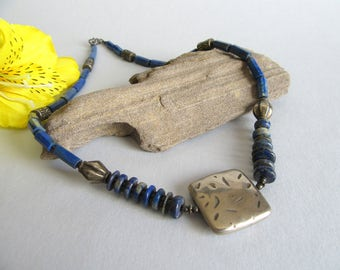 Silver and lapislazuli Necklace Charm from India.