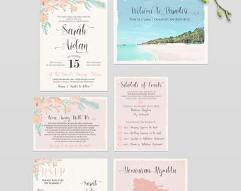 Destination wedding invitation Punta Cana Dominican Republic Caribbean beach illustrated wedding invitation bilingual floral Deposit Payment