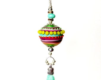 Planet Necklace, Purse Charm, Dr Seuss Jewelry, Space Jewelry, Cosmic Creations, Funky Necklace, Rainbow Pendant,Handbag Accessories,Charms