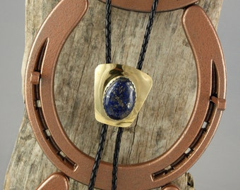 Western Bolo Tie - Natural Lapis Lazuli Bolo Tie - Cowboy Bolo Tie - Handmade Bolo Tie - Brass Bolo Slide with a Blue Lapis Lazuli Stone