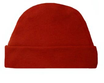 Red Capped Baby Hat. 100% Cotton Knit. Double Thick with a Built in Cap to Stay on Baby's Head. Preemie, Newborn Sizes to 6 Months