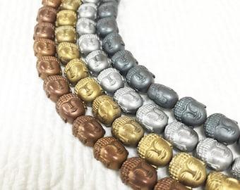"Matte Hematite Buddha Head 8x10mm Loose Beads For Jewelry Making  15.5"" Long Per Strand.I-HEM-0195"