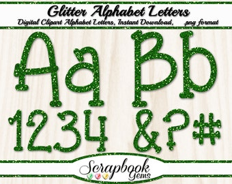 Green Glitter Letters & Numbers Digital Clipart, 76 High Quality PNG files, Instant Download