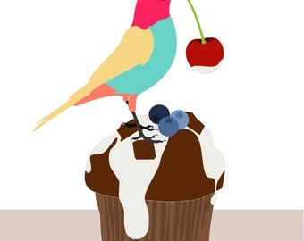 kitchen print, Cute cupcake art print, kids wall art,kitchen decoration, food poster,  kitchen poster, kids food poster, bird illustration
