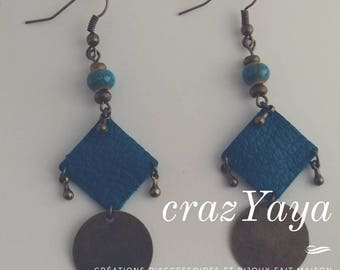 Leather and metal earrings