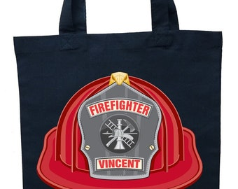 Firefighter Trick or Treat Bag, Personalized Fireman Halloween Bag