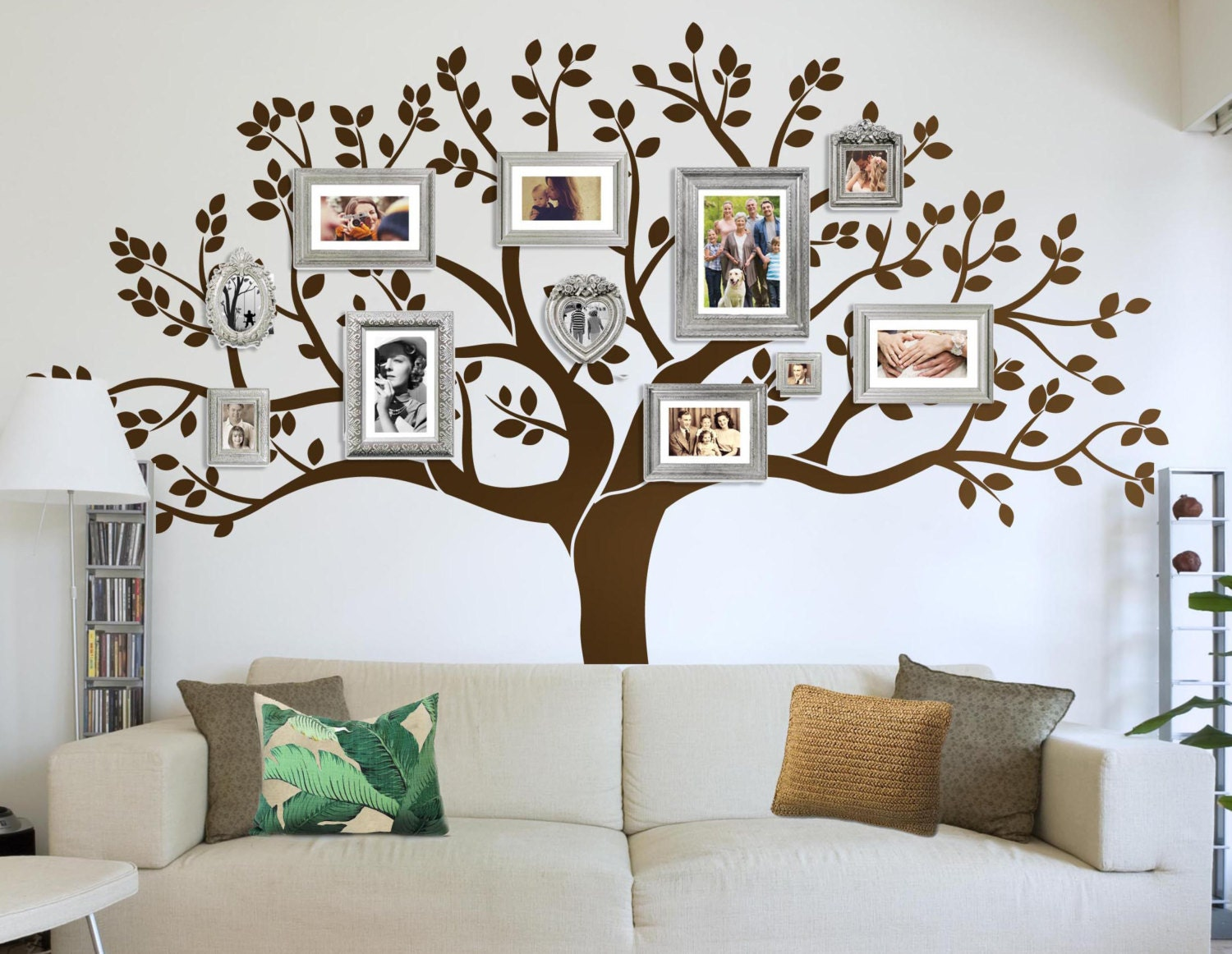 photo frame family tree decal wall decals wall decor. Black Bedroom Furniture Sets. Home Design Ideas