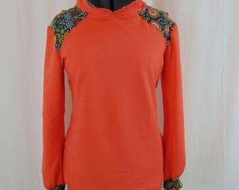 Floral coral organic cotton sweatshirt