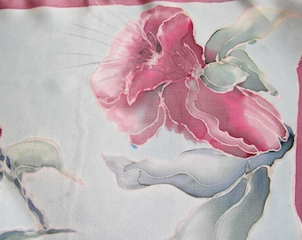 Fuschias - Hand Painted Silk Scarf -  One of a Kind- floral-grey-red