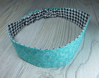 Houndstooth Adult / Teen Reversible HEADBAND -   Black and White Aqual Blue Swirls Cotton Fabric with Hidden Elastic