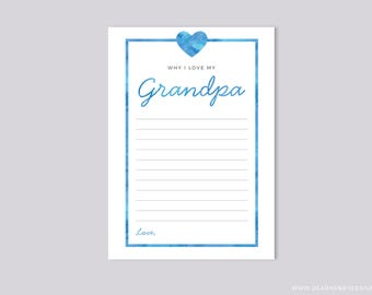 Why I love my Grandpa Father's Day Printable Blank Card, Printable Instant Download, Grandfather, Papa, Granddad Birthday Keepsake