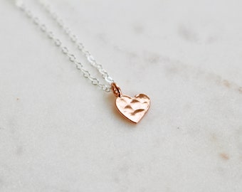 Rose Gold Heart Necklace, Hammered Heart Necklace, Heart Charm Necklace, Small Heart Pendant, Tiny Heart Necklace, Dainty Necklac