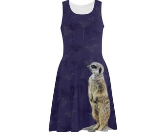 Meerkat sleeveless dress with fennel seed purple pattern, summer skater dress sublimation printed size XS S M L XL 2XL